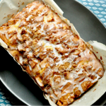 a delicious lactose-free apple fritter loaf with sweet glaze