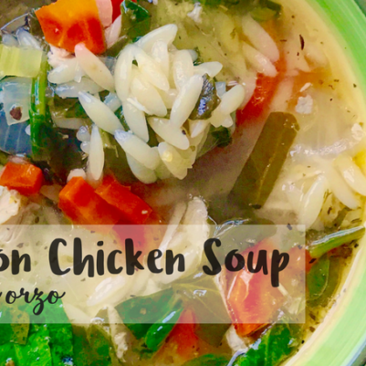 mommydo.com || lemon chicken soup with orzo and spinach