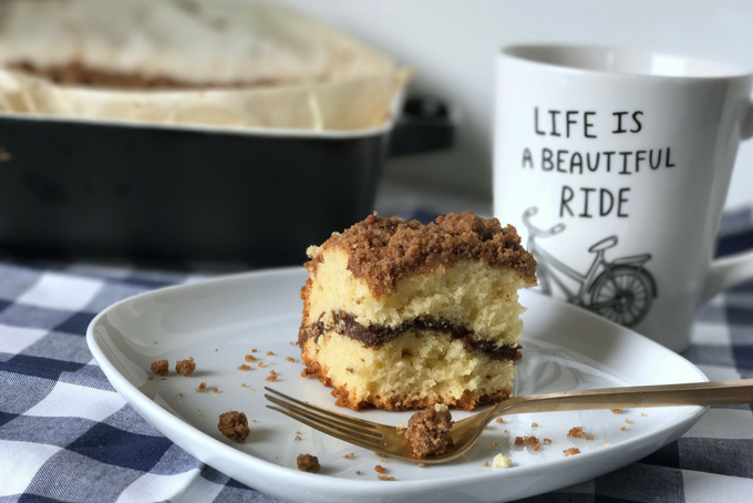 Lactose-Free Cinnamon Coffee Cake (with extra crumble)