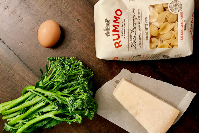 ingredients for Lactose-free Orecchiette with Broccolini and Meatballs